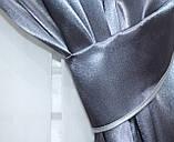 Комплект готових штор з атласу. Колір графітовий. №38, фото 3