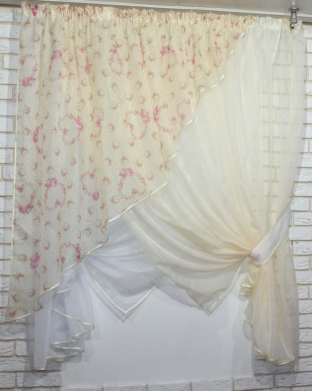 Комплект кухонные шторки с подвязками(2,8*1,7м.) Цвет:молочный №063к (112т) 50-104