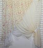 Комплект кухонные шторки с подвязками(2,8*1,7м.) Цвет:молочный №063к (112т) 50-104, фото 3