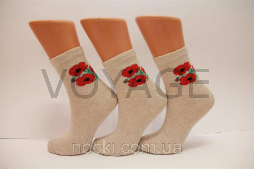 Женские носки средние стрейчевые льняные НЛ 23-25  арт.220,маки
