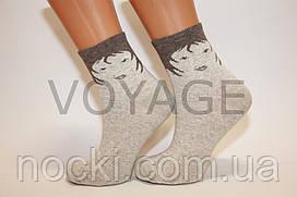 Жіночі шкарпетки середні стрейчеві лляні НЛ 23-25 арт.220,дівчинка