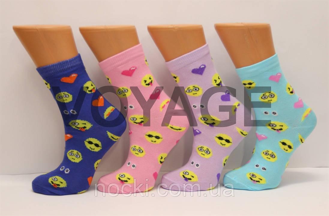 Женские носки высокие стрейчевые с хлопка компютерные STYLE LUXE КЛ kjv kjsv125 смайлики