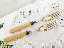 Дві старі антикварні виделки з целулоїдними ручками, сріблення, Англія