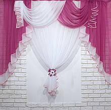 Кухонні завісь, ламбрекен і тюль Колір Малиновий з білим 067к
