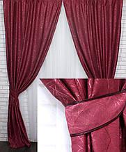 Штори блекаут льон рогожка. Колір бордовий Код 571ш