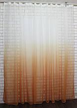 """Тюль растяжка """"Омбре"""" на батисте (под лён) с утяжелителем, цвет оранжевый с белым 581т"""