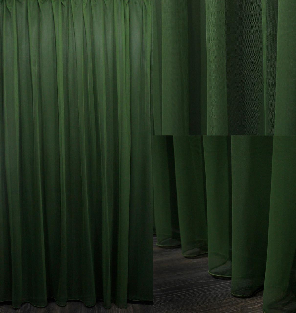 """Тюль фатин """"Грек сетка"""" Турция (3х2,5) однотонный, цвет темно зеленый. Код 620т 40-290"""
