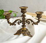 Винтажный бронзовый подсвечник на три свечи, канделябр, бронза, Италия, фото 2