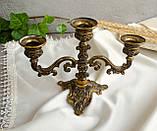 Винтажный бронзовый подсвечник на три свечи, канделябр, бронза, Италия, фото 4