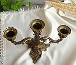 Винтажный бронзовый подсвечник на три свечи, канделябр, бронза, Италия, фото 5