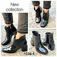 Ботинки женские демисезон кожаные черные на каблуке, фото 1