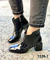 Жіночі шкіряні осінні черевики на підборах з тупим носком, фото 1
