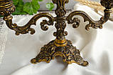 Винтажный бронзовый подсвечник на три свечи, канделябр, бронза, Италия, фото 8