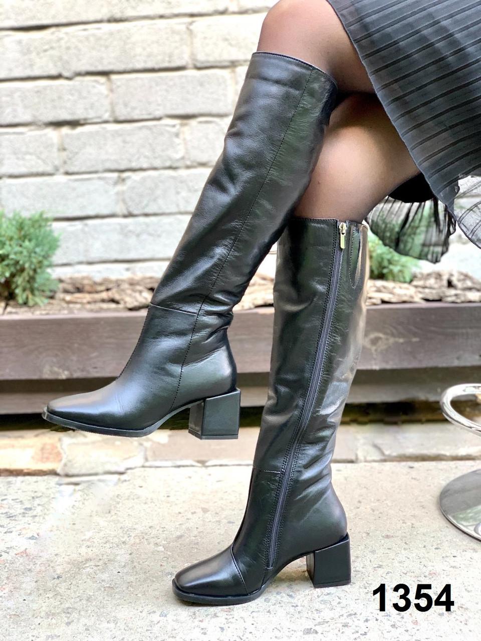 Сапоги женские деми кожаные черные на каблуке с тупым носком