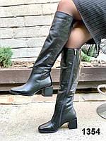 Сапоги женские деми кожаные черные на каблуке с тупым носком, фото 1