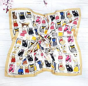 Платок шелковый модный Котики