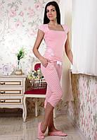 "Яркий женский комплект для дома и сна (футболка+капры) ""Романтика"""