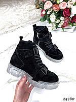 Ботинки зимние черные на прозрачной подошве натуральная замша код 24760, фото 1