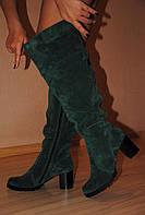 """Ботфорты """"519"""" изумрудного цвета зимние или демисезонные из натуральной кожи и меха код 1732, фото 1"""