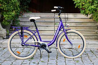 Велосипед женский городской COSSACK LOW LINE 26 Nexus 3 фиолетовый с корзиной Польша