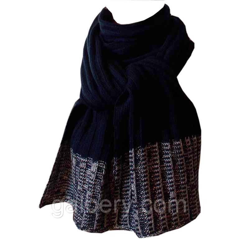 В'язаний шарф-петля глибокого синього кольору з сірим