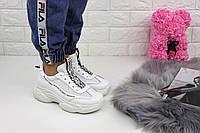 Женские белые кроссовки на массивной подошве 1151, фото 1