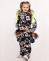 Зимний детский комбинезон для девочек со стильным принтом 86-152 р