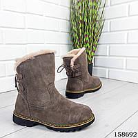 Женские ботинки зимние цвета какао из натуральной замши сзади шнуровка код 158692, фото 1