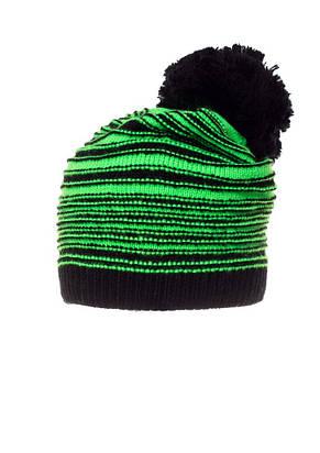 Красивая теплая вязаная женская шапка в полоску Pawonex., фото 2