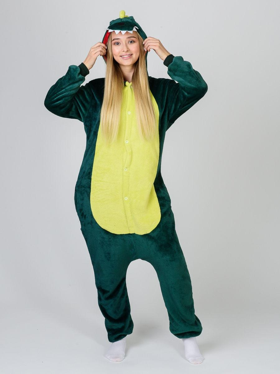Пижама кигуруми Дракон зеленый S (150-160см)