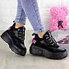 Женские кроссовки черные замшевые на высокой подошве 38 размер - 23,5 см 1302