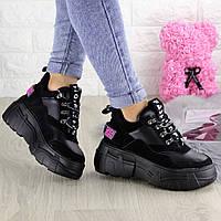 Женские кроссовки черные замшевые на высокой подошве 38 размер - 23,5 см 1302, фото 1