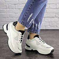 Женские кроссовки белые с черным Kuma 1665, фото 1