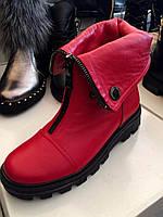 Ботинки демисезонные красные или черные натуральная кожа код 2224, фото 1