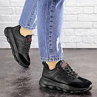 Женские черные кроссовки комбинированные 1663, фото 1