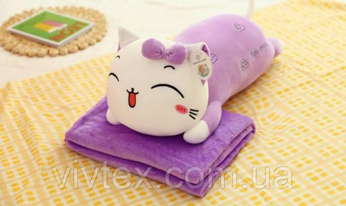 Плед дитячий + іграшка кішка і подушка 3в1