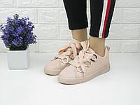 Женские пудровые кеды кроссовки шнуровка ленты 1058, фото 1