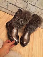 """Ботинки серебристые зимние """"две пряжки"""" натуральная кожа и мех код 2296, фото 1"""