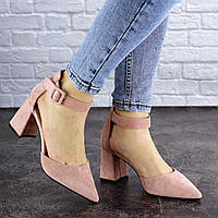 Женские замшевые туфли на каблуке розовые 39 размер - 25,5 см 1943, фото 1