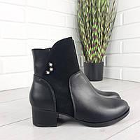 Ботинки женские демисезонные черные натуральная кожа и замш на маленьком каблуке 160883, фото 1