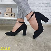 Туфли лодочки замшевые на широком толстом каблуке с ремешком застежкой 36 размер (23,5 см), фото 1