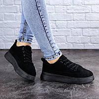Женские черные замшевые кроссовки 38 размер - 24 см  2069, фото 1