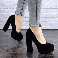 Туфли женские замшевые черные на широком высоком каблуке 40 размер ( 25,5 см) 1381