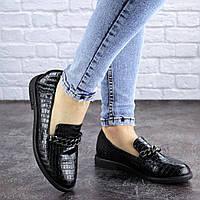 Туфли женские цепь черные питон на низком ходу 2063