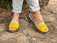 Женские шлепанцы перфорация желтые натуральная кожа код 2790К, фото 1