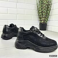 Кроссовки женские стильные черные замшевые код 155959, фото 1