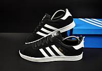 Кроссовки мужские черные реплика adidas Gazelle замшевые код 20736, фото 1