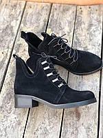 """Ботинки  """"заклёпки""""  черные  натуральный замш  код 19147, фото 1"""