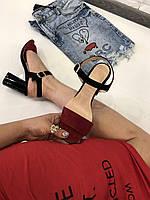 Босоножки черно-красные натуральный замш устойчивый каблук код 2886, фото 1