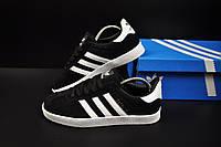 Кроссовки женские черные с белым реплика adidas Gazelle замшевые код 20733, фото 1